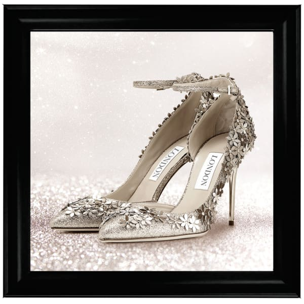 London Silver Flower Shoes Right Art Framed Graphic Print - Wall Art