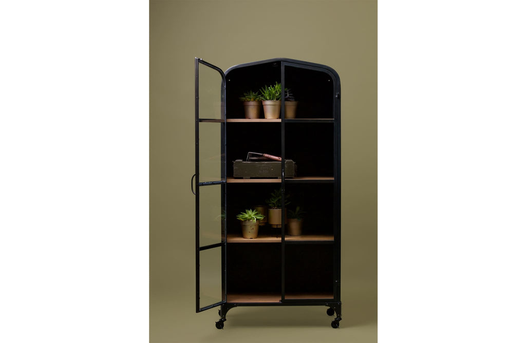 Lori Wooden Shelves Metal Cabinet by Woood - Storage Cabinet