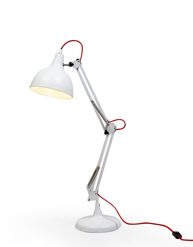 Matt White Traditional Desk Lamp (Red Fabric Flex) - Table Lamp