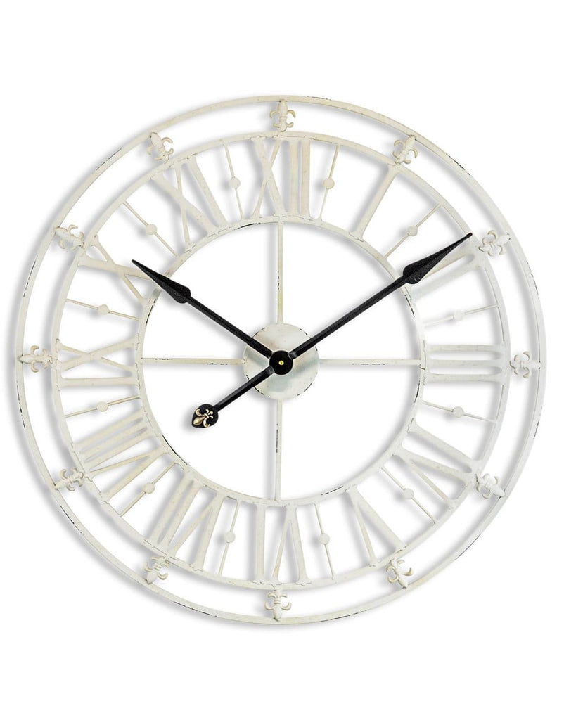 Medium Antique Cream Iron Skeleton Wall Clock - Clock