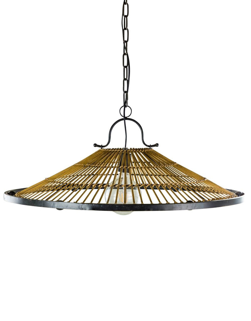Metal and Wicker Retro Ceiling Pendant - Pendant Light