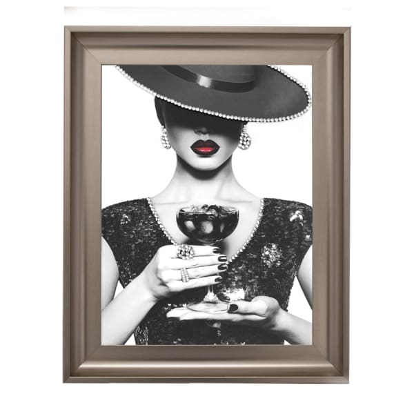 Milan Lady Cocktail 1 Art Framed Graphic Print - Wall Art