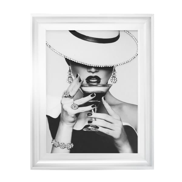 Milan Lady Cocktail 5 Art Framed Graphic Print - Wall Art