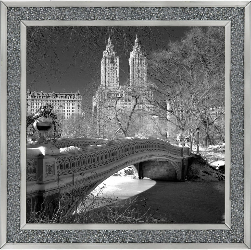 New York Bow Bridge Central Park Art Framed Graphic Print - Wall Art