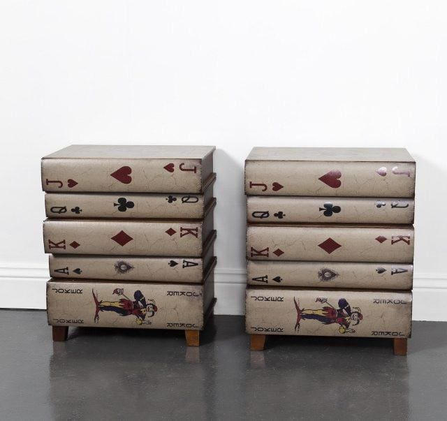Pair of Playing Cards Bedside Table Cabinet - Bedside Table