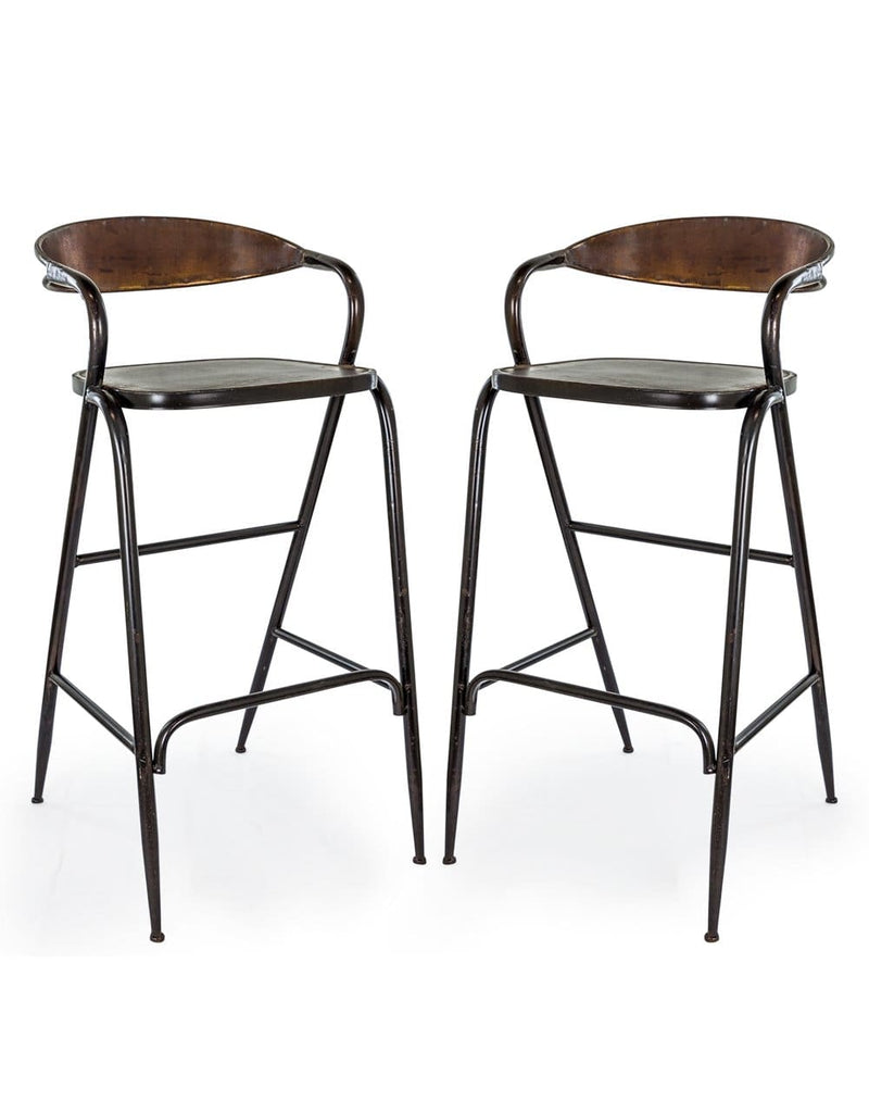 Pair of Rustic Metal Bar Stools - Stool