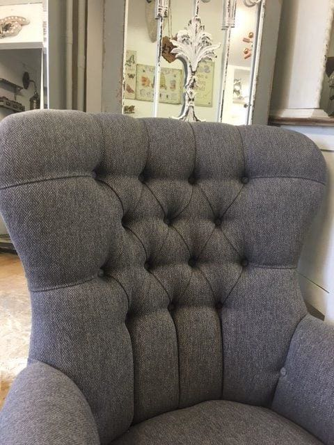Pewter Grey Herringbone Fabric Button Back Armchair - Made to Order - Armchair