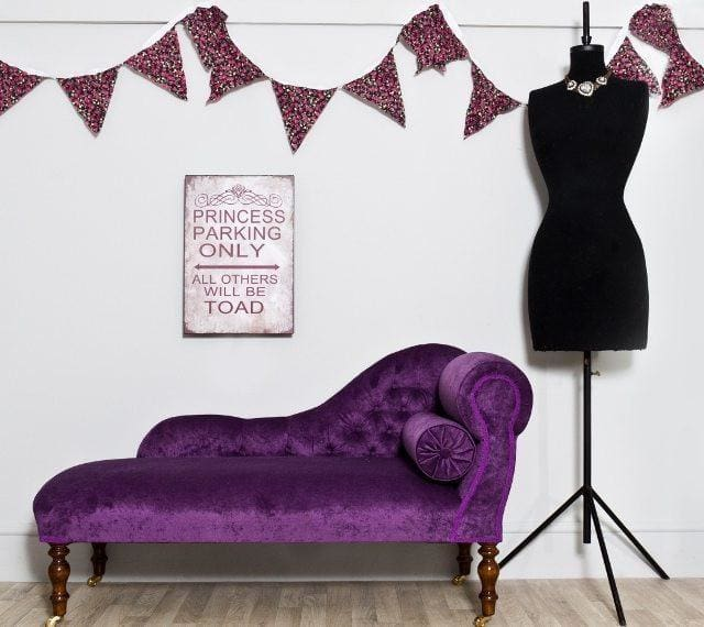 Purple Velvet Chaise Longue - Made to Order - Chaise Longue