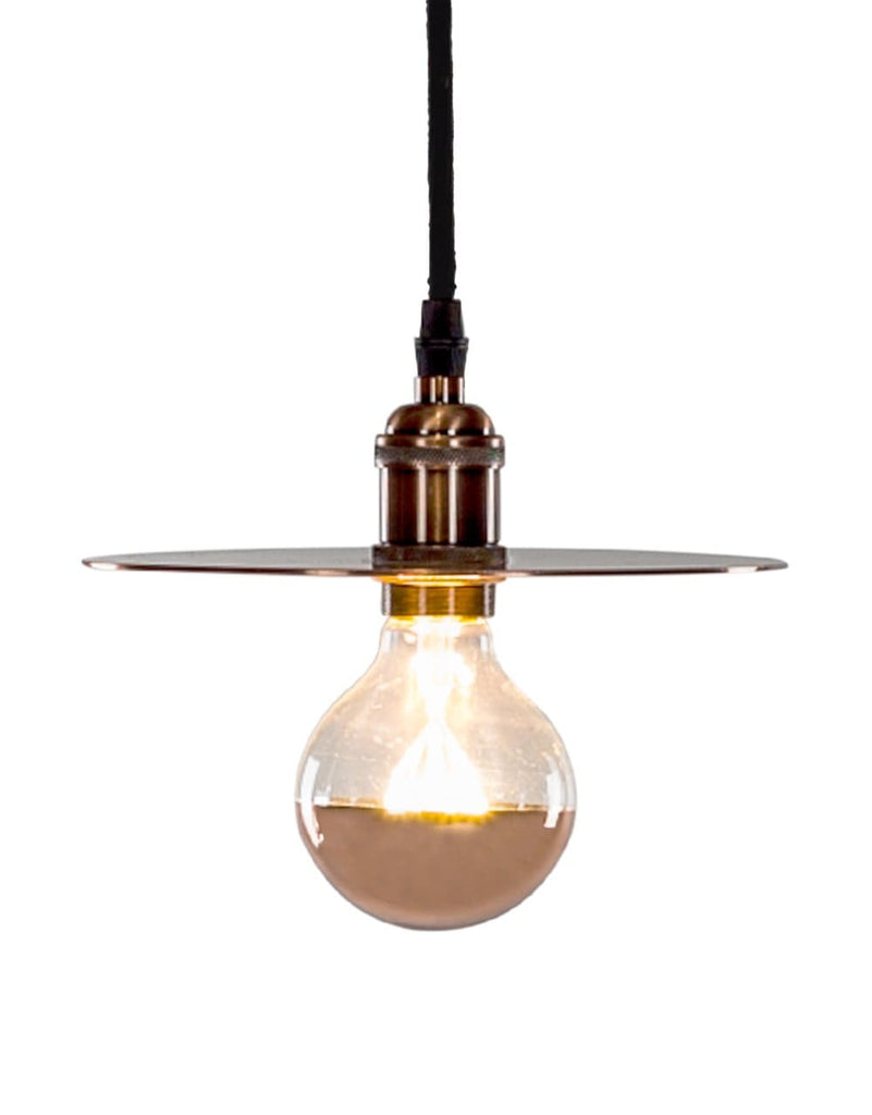 Retro Antique Copper Pendant with Shade Plate - Pendant Light