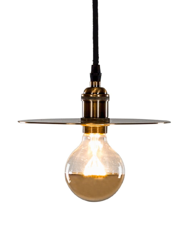 Retro Brass Pendant with Shade Plate - Pendant Light