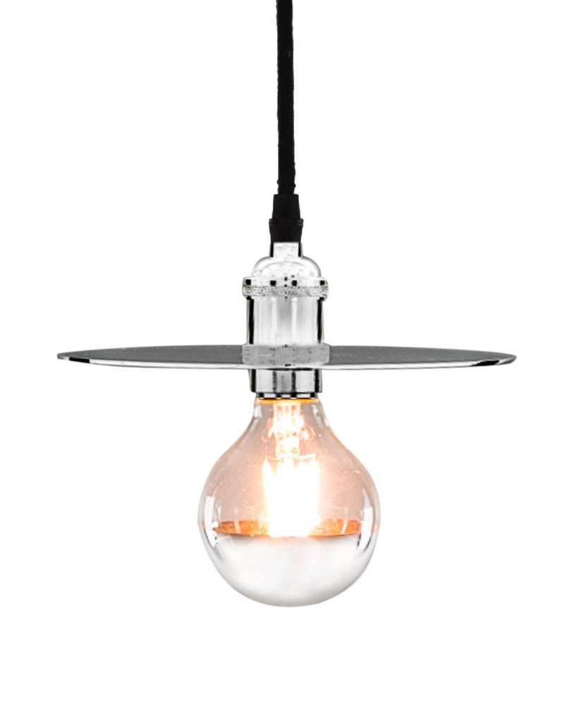 Retro Chrome Pendant with Shade Plate - Pendant Light