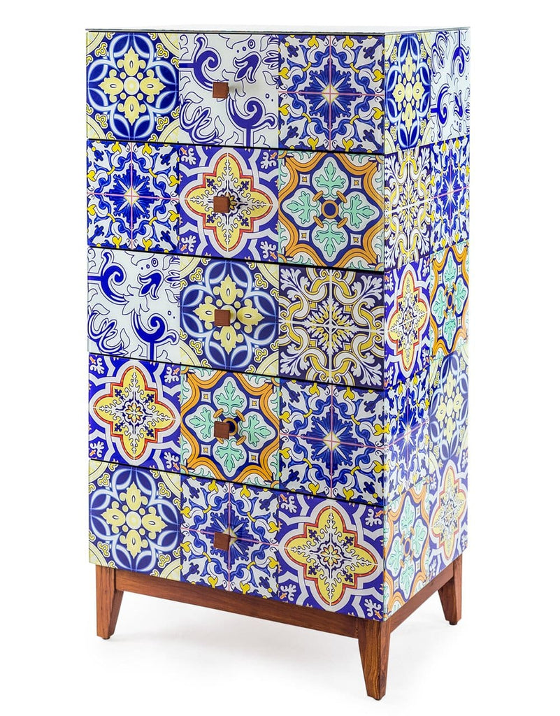 Retro Talavera Tile Pattern Glass Tall Chest of Drawers - Chest of Drawer