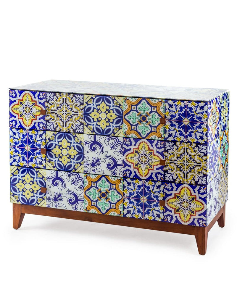 Retro Talavera Tile Pattern Glass Wide Chest of Drawers - Chest of Drawer