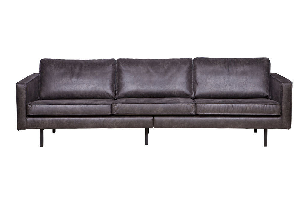 Rodeo Black 3 Seater Leather Sofa By BePureHome - Sofa