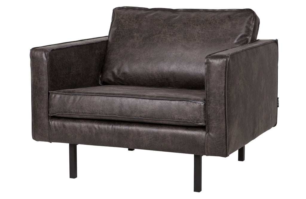 Rodeo Black Leather Armchair By BePureHome - Sofa