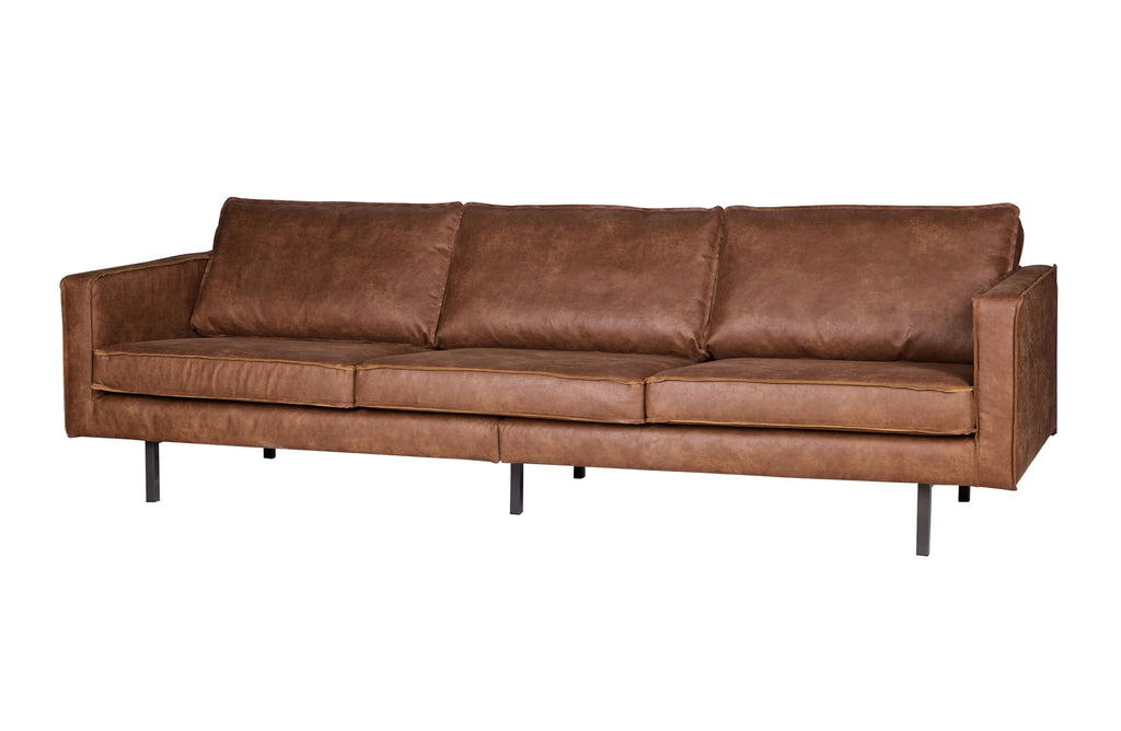 Rodeo Cognac 3 Seater Leather Sofa By BePureHome - Sofa