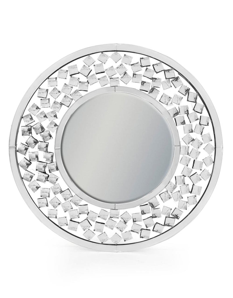 Round Large Diamond Detailed Venetian Wall Mirror - Mirror