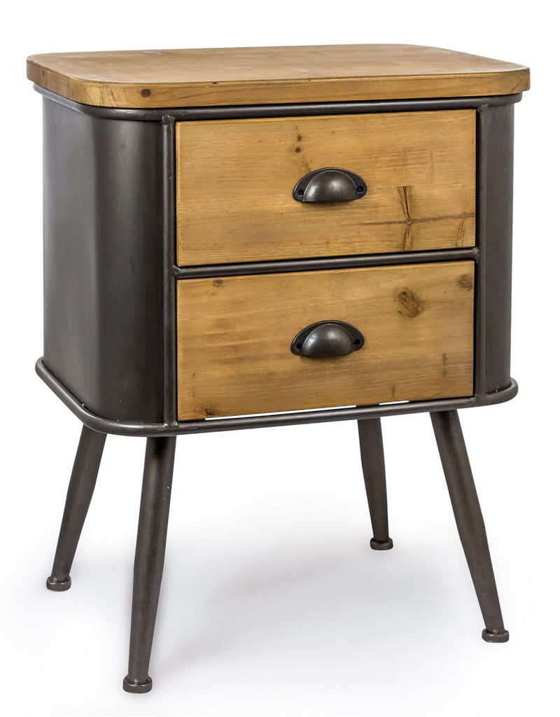 Shoreditch Metal and Wood 2 Drawer Cabinet - Side Table