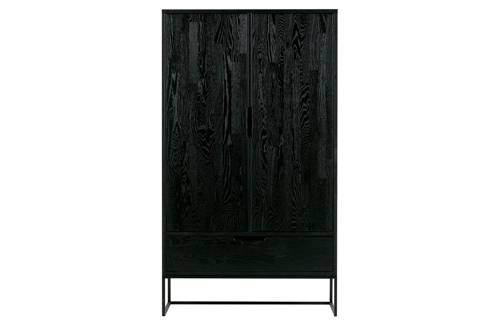 Silas Brushed Black Night Oak 2 Doors Cabinet by Woood - Storage Cabinet