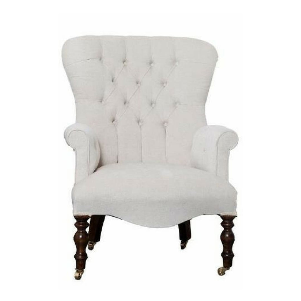 Small Cream Velvet Button Back Small Armchair - Made to Order - Armchair