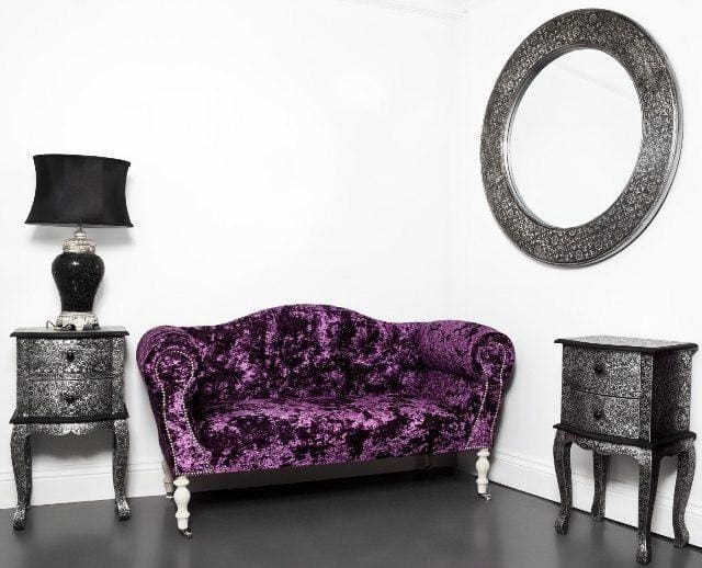 Small Crushed Purple Lustro Velvet 2 Seater Sofa - Made to Order - Sofa