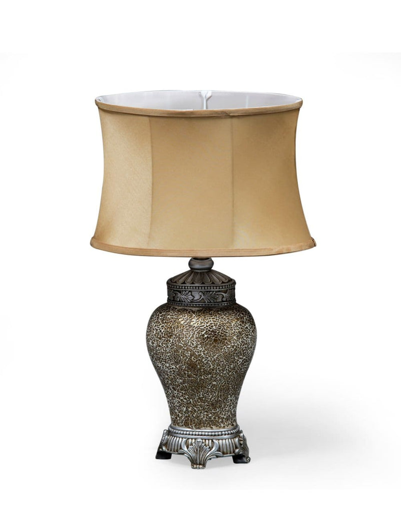 Small Gold Mosaic Lamp with Gold Oval Shade - Table Lamp