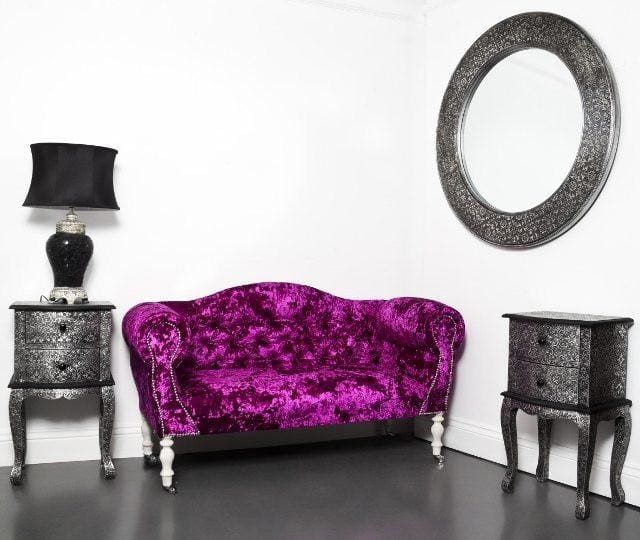Small Hot Pink Crushed Lustro Velvet Double Ended Sofa - Made to Order - Sofa