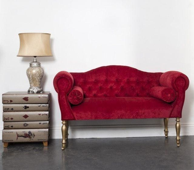 Small Rich Red Velvet 2 Seater Sofa - Made to Order