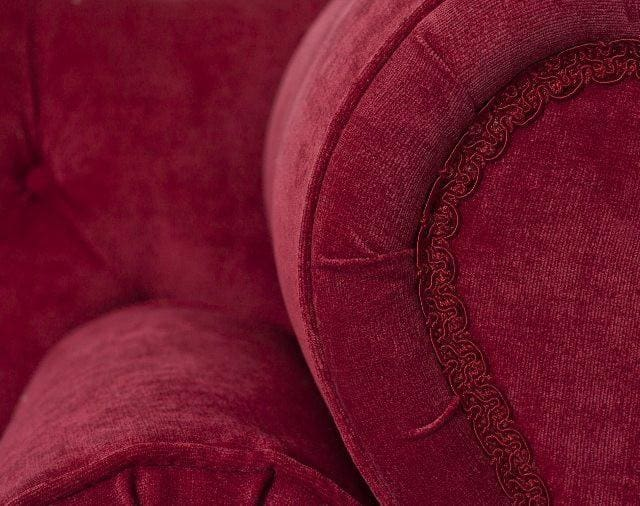 Small Rich Red Velvet 2 Seater Sofa - Made to Order - Sofa