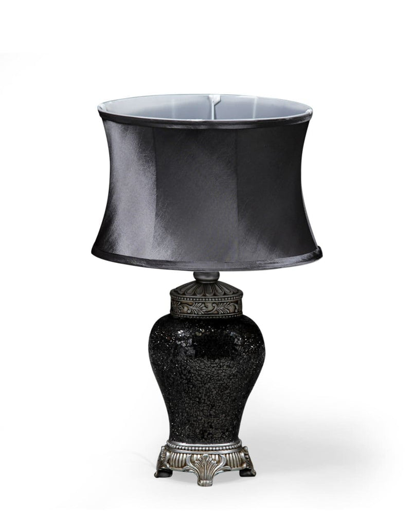 Small Silver Mosaic Lamp with Silver Oval Shade - Table Lamp