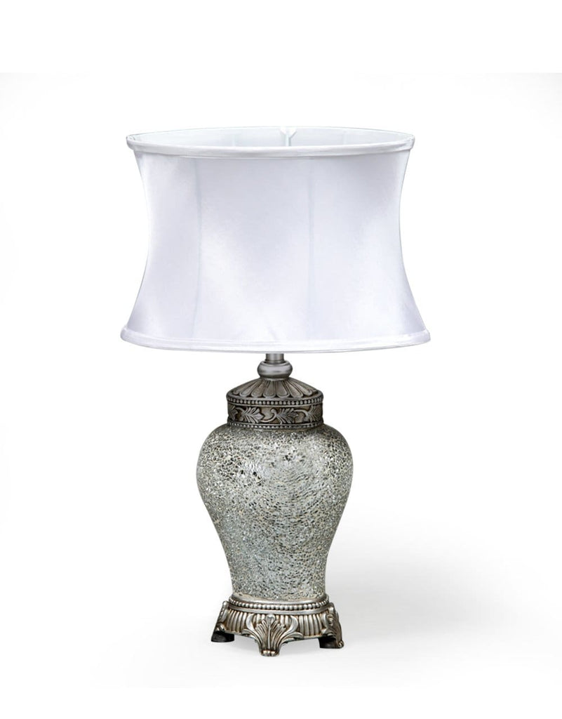 Small White Mosaic Lamp with White Oval Shade - Table Lamp