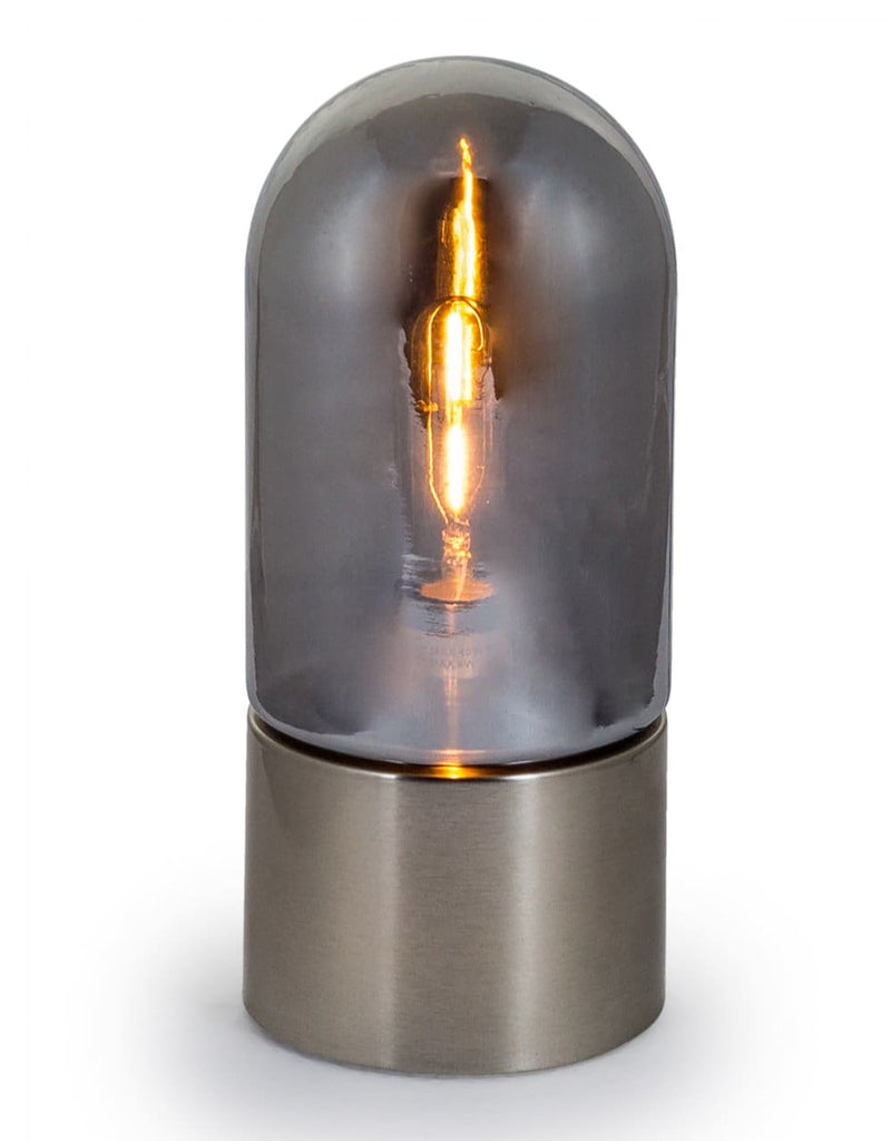 Smoked Glass Steel Base Dome Table Lamp - Table Lamp