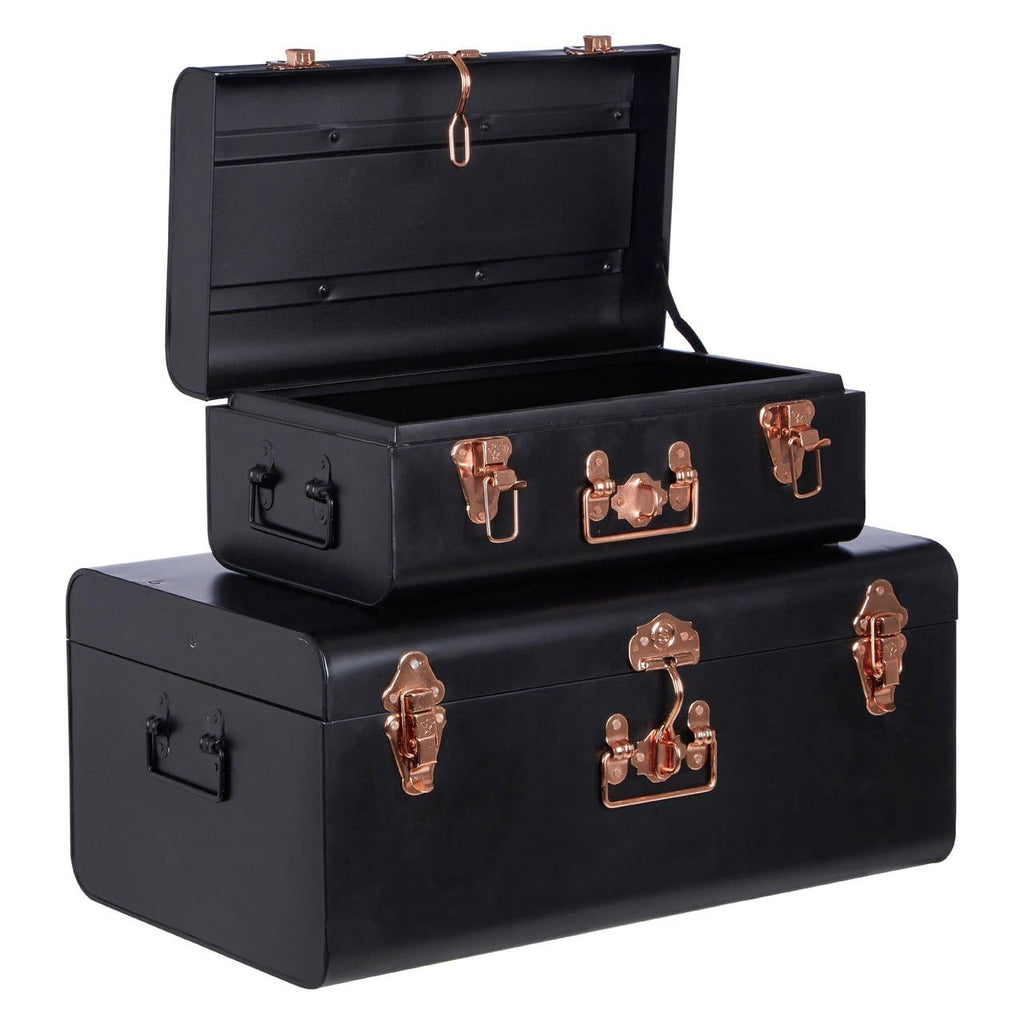 Storage Trunks - Black & Rose Gold - Box Trunks