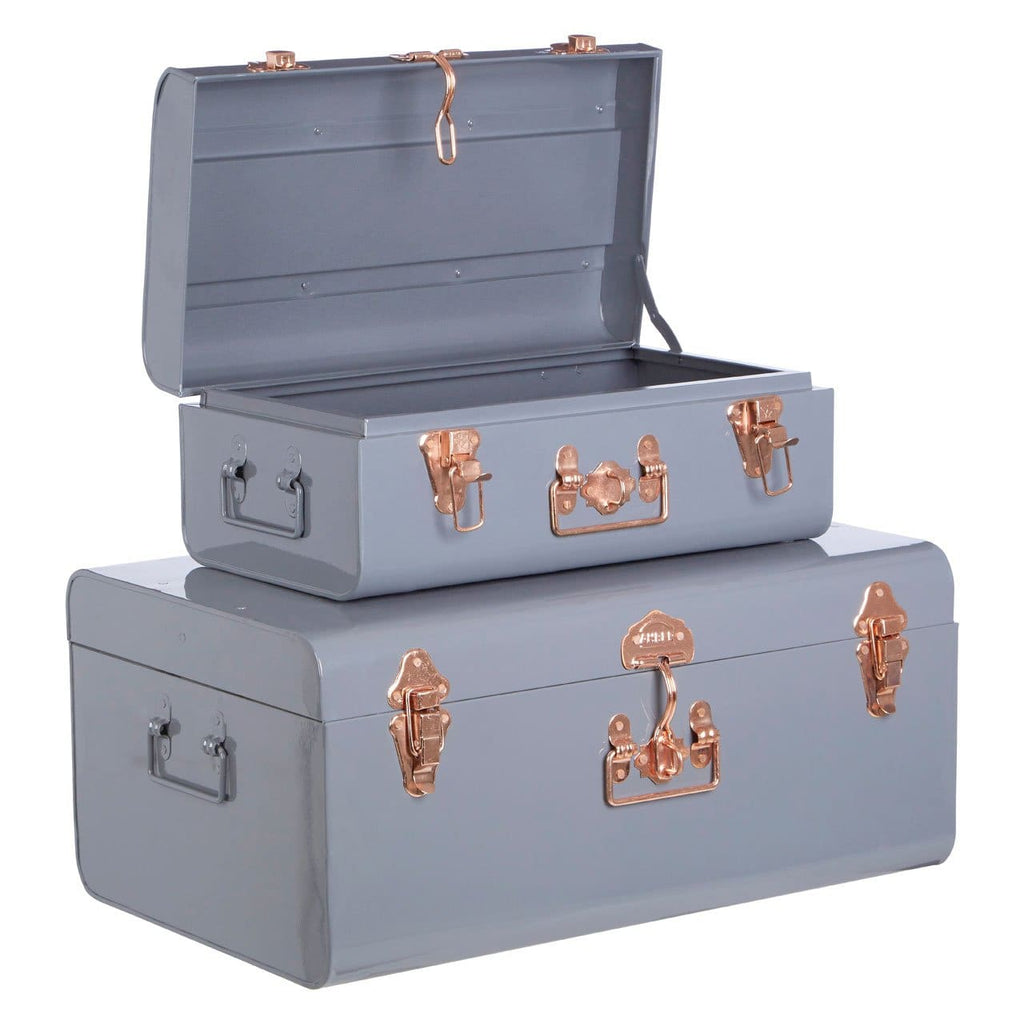 Storage Trunks - Grey & Rose Gold - Box Trunks