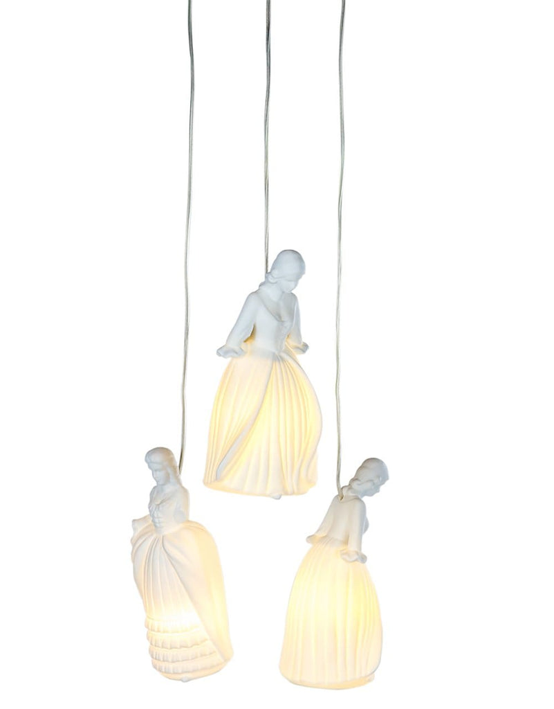 Triple Ceramic Lady Figure Pendant - Pendant Light