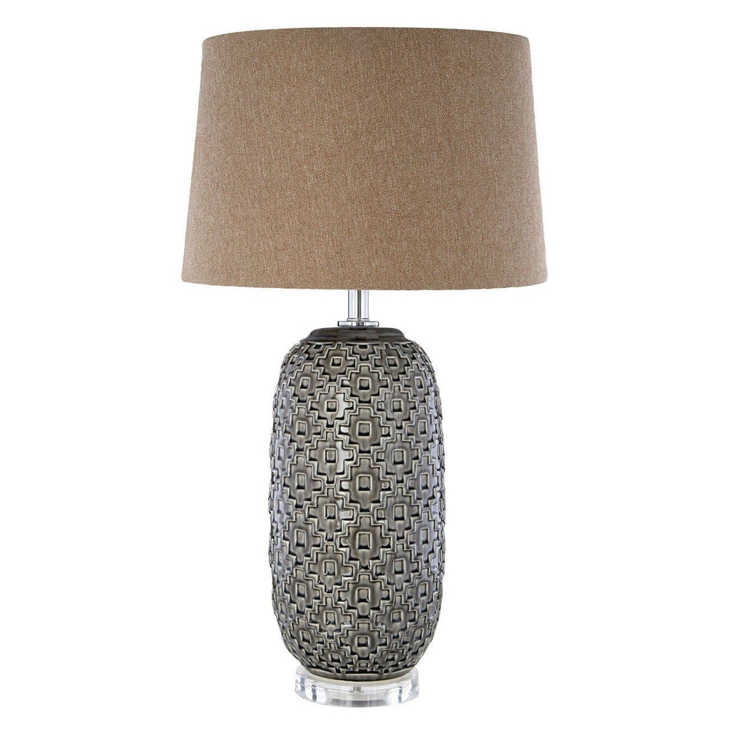 Udele Geometric Brown Shade Table Lamp - Table Lamp
