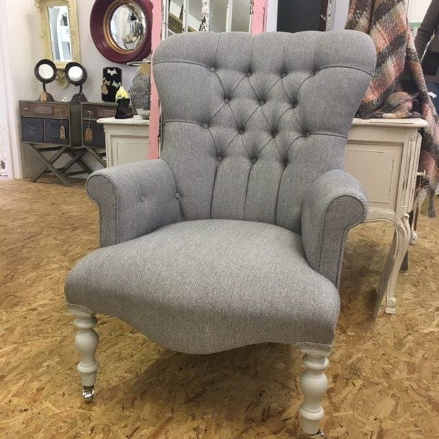 Vintage Design Light Grey Herringbone Fabric Button Back Armchair - Made to Order - Armchair