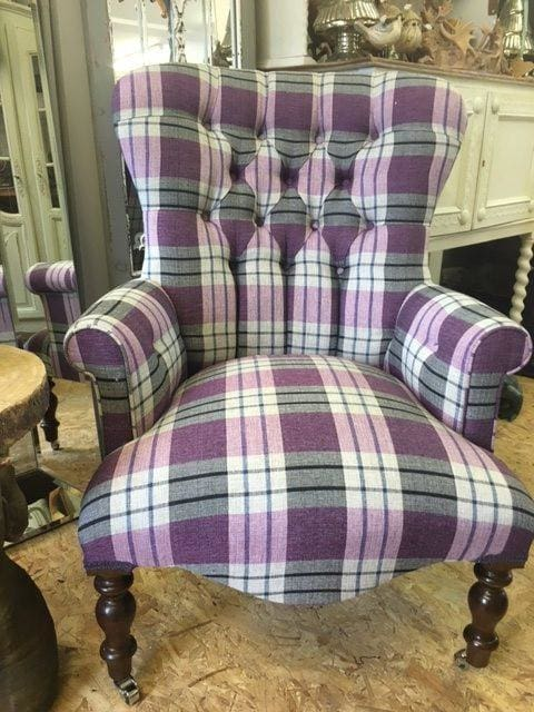 Vintage Design Purple Check Tartan Button Back Armchair - Made to Order - Armchair