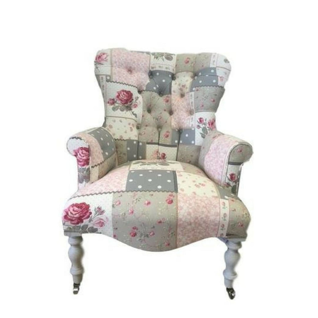 Vintage Style Patchwork Fabric Button Back Armchair - Made to Order - Armchair