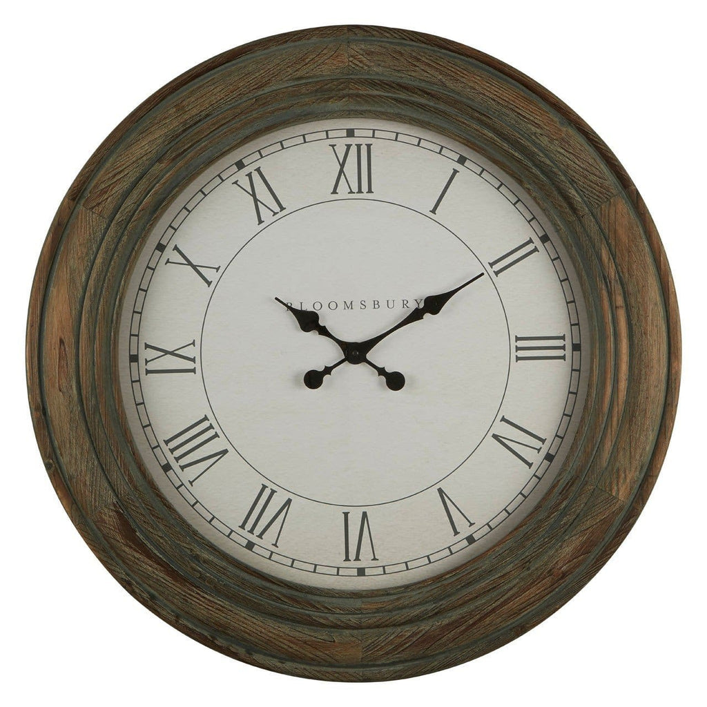 Washed Grey Wood Wall Clock - Clock