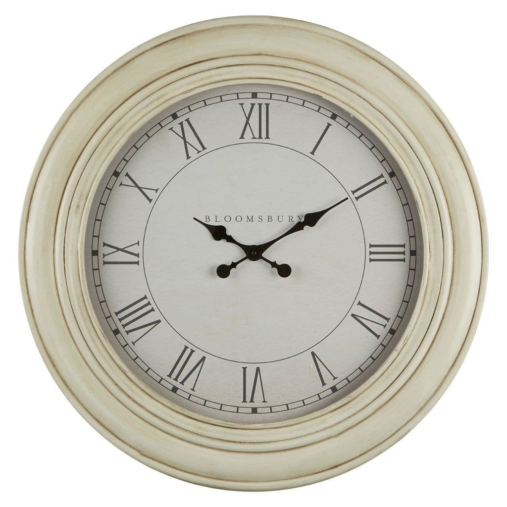 Washed White Wood Wall Clock - Clock