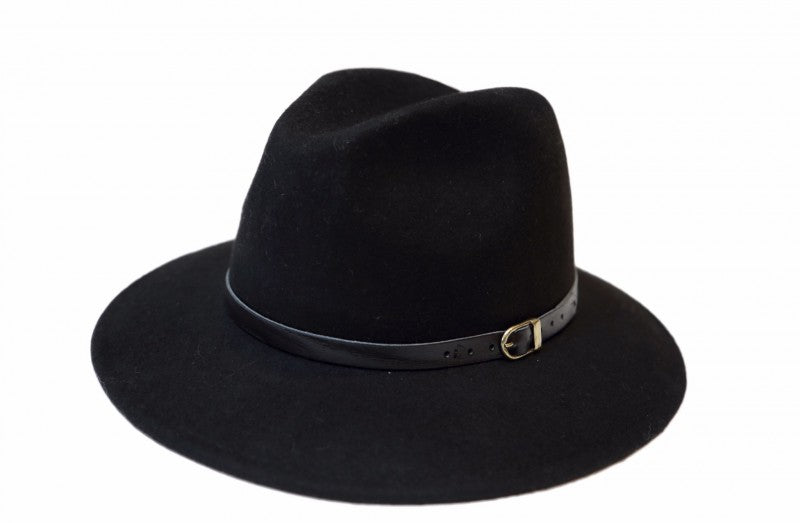 Black Fedora With Leather Band