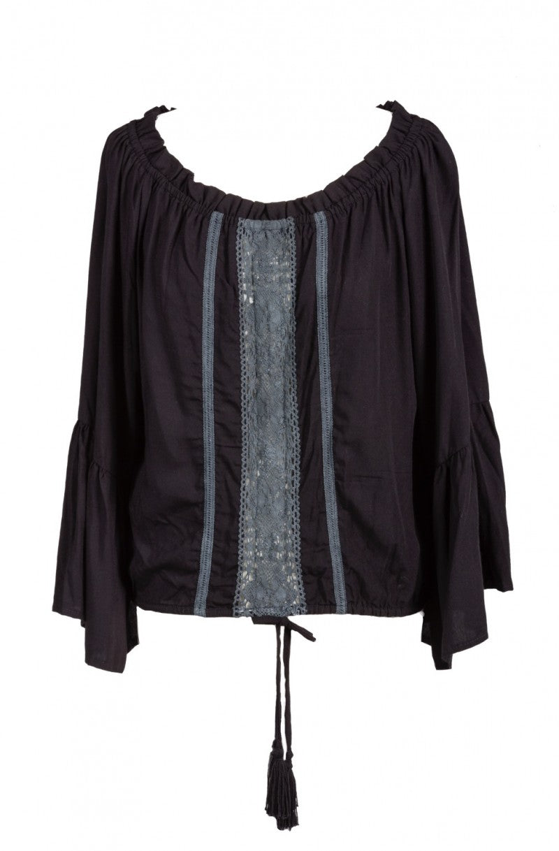 Black Lace Bell Sleeved Blouse