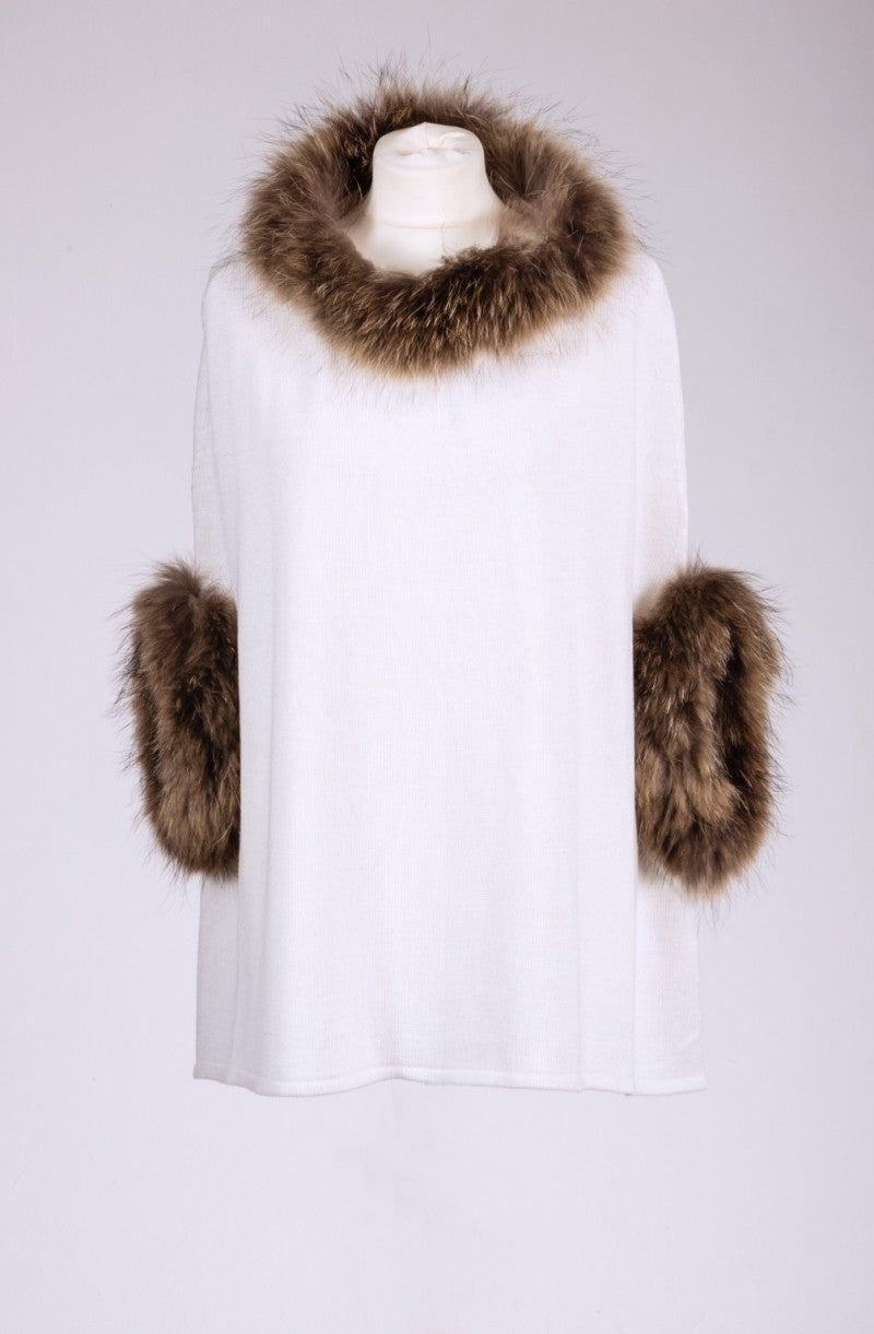 Cream Fur Trimmed Poncho