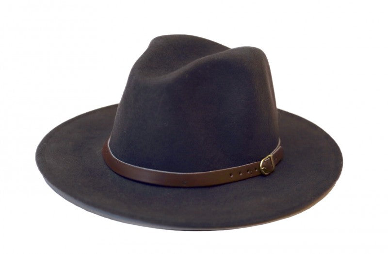Dark Brown Fedora With Leather Band