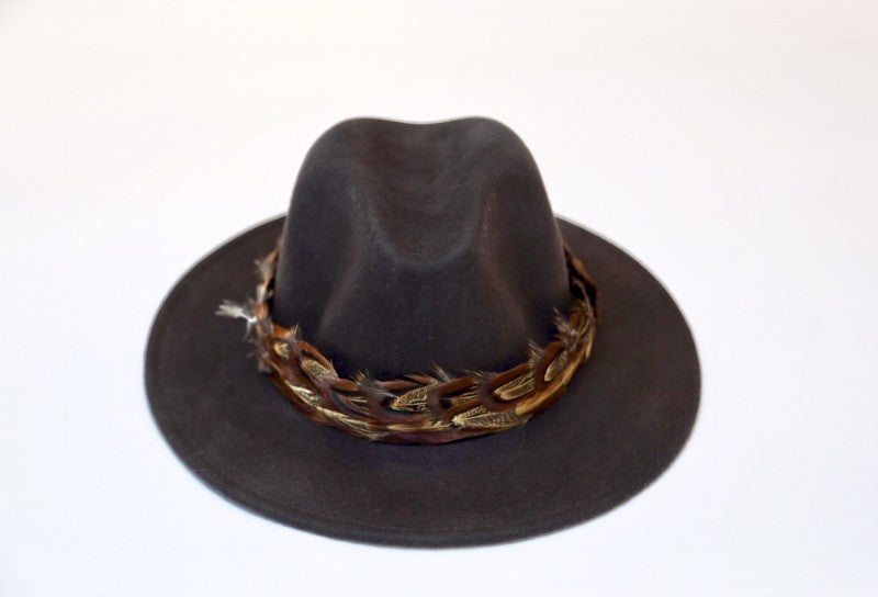 Dark Brown Fedora With Phesant Feather Band