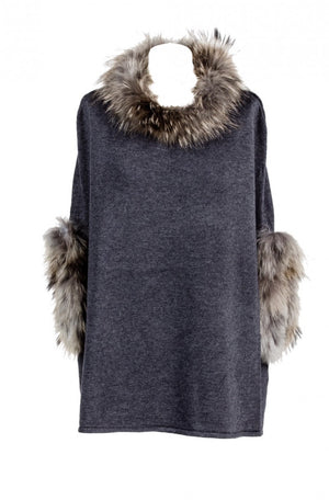Grey Fur Trimmed Poncho