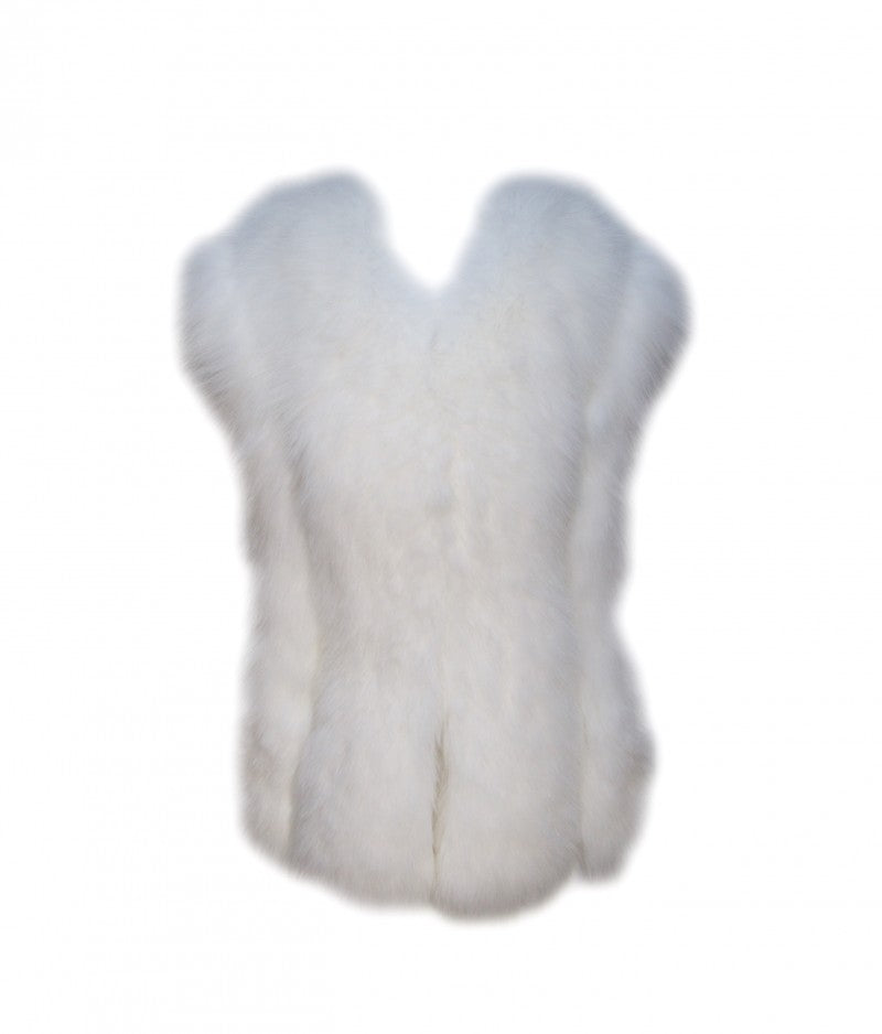 Ivory Cropped Fox Fur Vest