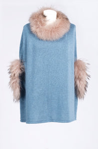 Teal Fur Trimmed Poncho