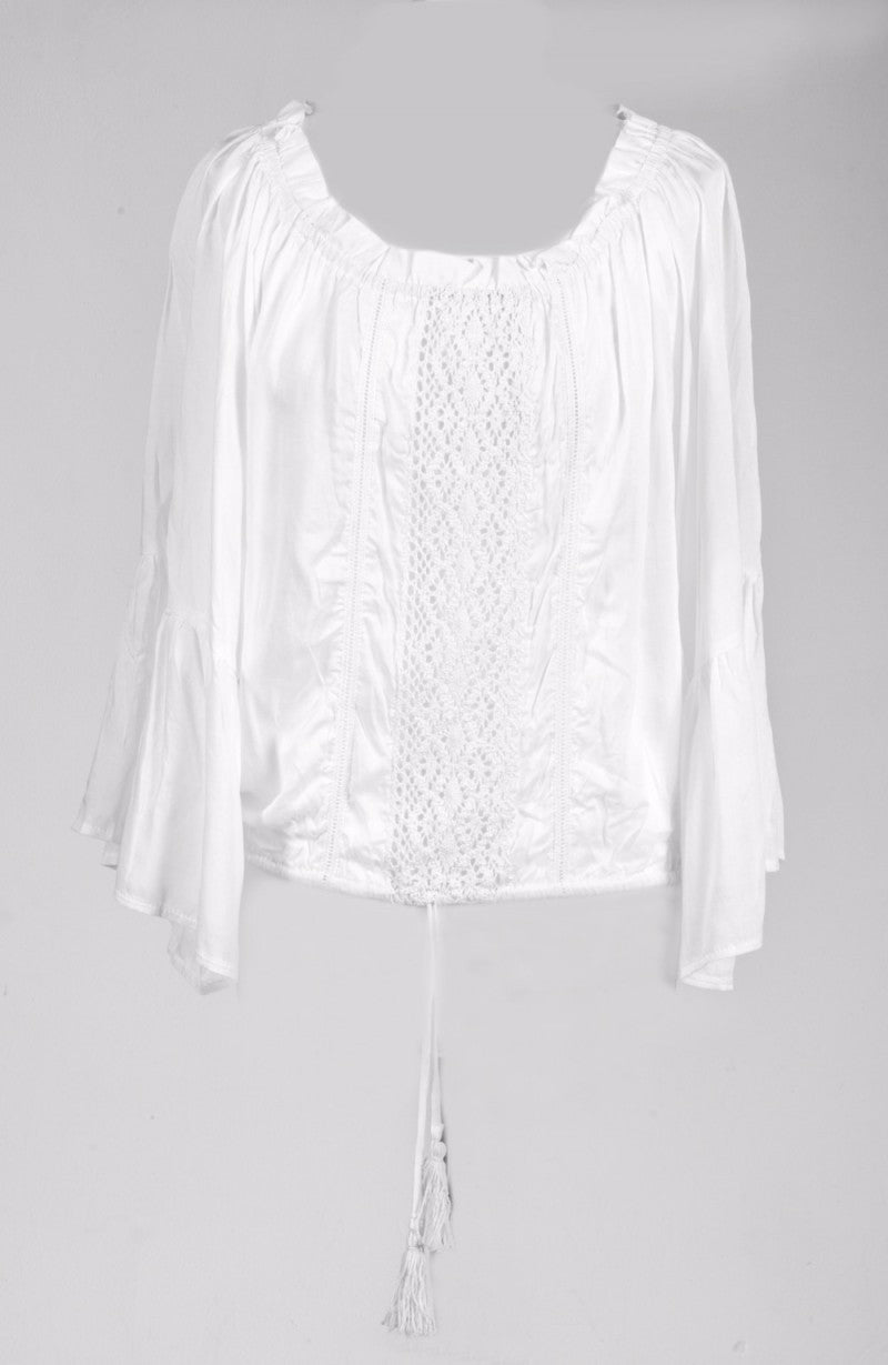 White Lace Bell Sleeve Blouse